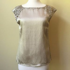 Antonio Melani Silk Rhinestone Sleeveless Blouse